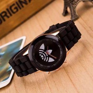 Unisex Black Trefoil Sports Fashion Watch